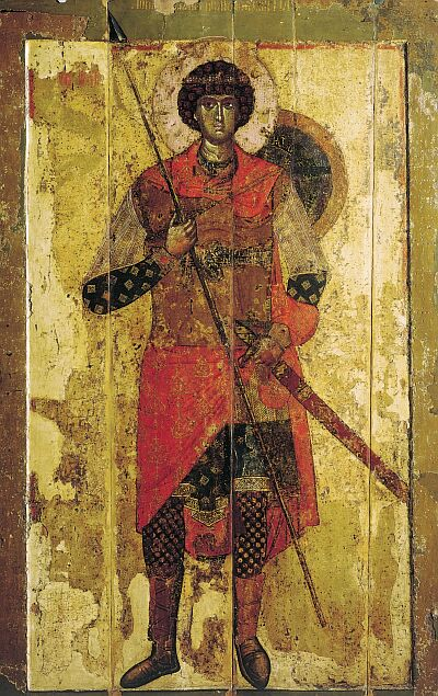 Novgorod icons. Saint George. Temple icon of Saint-George Cathedral in Yuryev monastery near Novgorod. 1130–1140-s. State Tretyakov Gallery