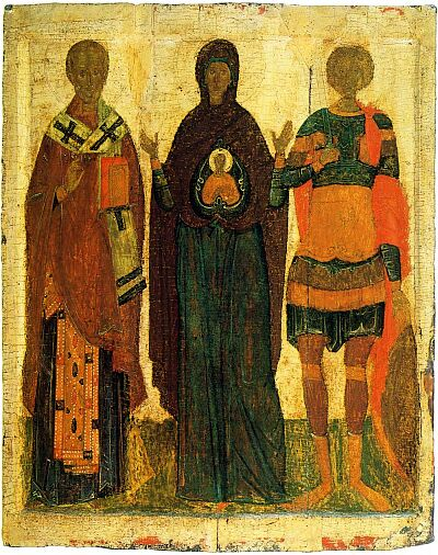 Theotokos Great Panagia with saints Nicholas and George. The Pskov icon from Church of Reserection in Rakuly village in Archangel region. Late XV. State Tretyakov Gallery